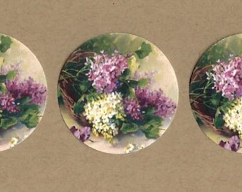 Sticker Seals Vintage Style Lilacs 18 pcs Shabby Chic