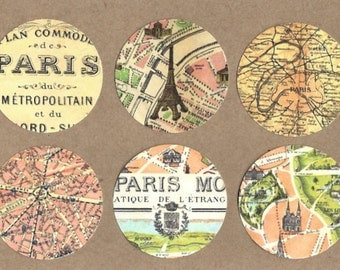 Stickers, French Map, Vintage Style, Paris Stickers