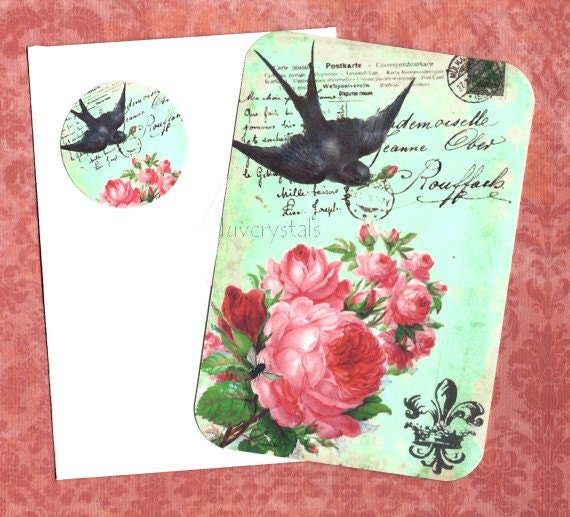 French Flair Note Cards with Envelopes and Sticker Seals