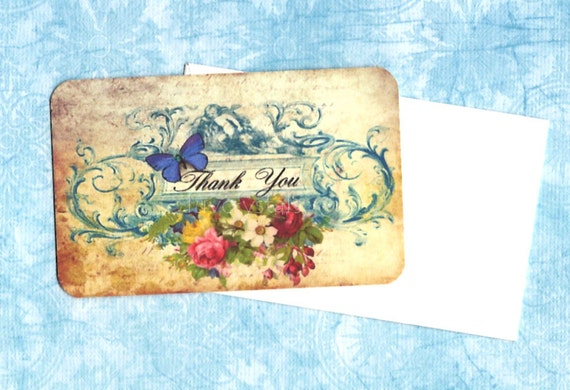 Mini Tags with Envelopes Thank You Greetings Set of 6