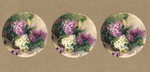 Sticker Seals Vintage Style Lilacs 18 pcs Shabby Chic