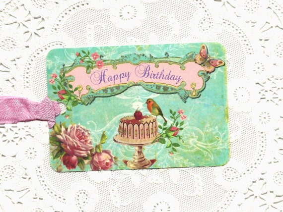 Gift tags happy birthday shabby chic style for Lampe style shabby chic