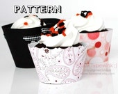 Cupcake Wrapper - PDF printable PATTERNS Package - 3 SIZES