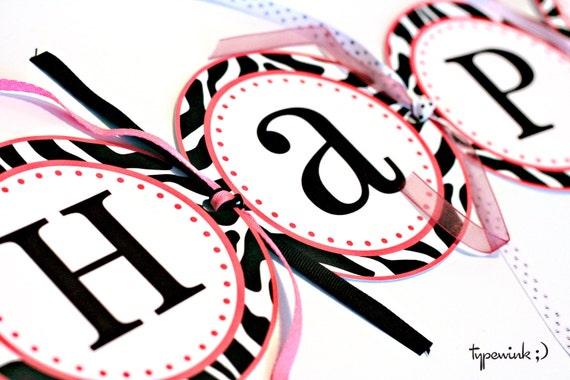 Zebra Print Banner - Full Alphabet Included - Printable