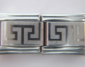 Authentic Casa D Oro - A Pair of Maze Patterned Stainless Steel Charms - Italian Charm Bracelet - 9mm Links