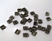 30 Metal Beads - Highly Detailed Rectangle Beads - Double Strand