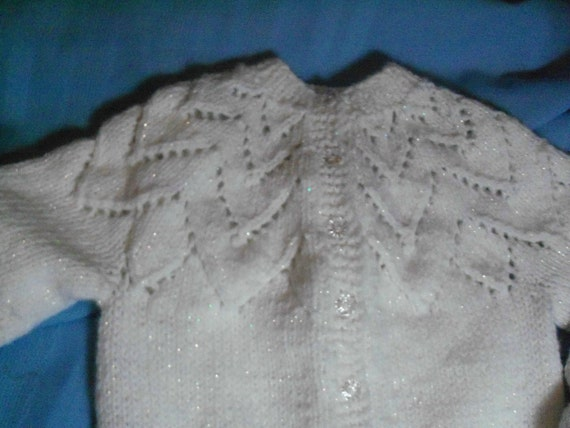Handknit petal cardigan in shimmery snowy white knit with wool-ease yarn for girl size 3 - 4