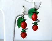 Strawberry earrings, glass beads and leaves, fruit strawberry jewelry