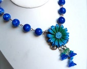 Blue beaded necklace, turquoise vintage brooch pendant, vintage inspired