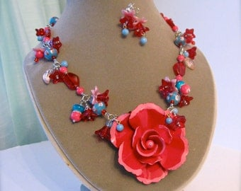 Upcycled vintage brooch necklace, red rose OOAK statement piece, rockabilly