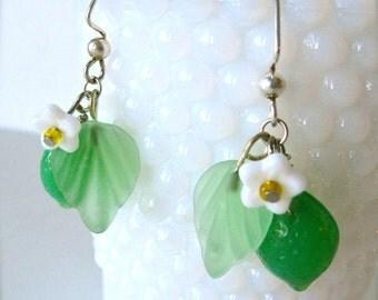 Lime earrings, fruit earrings, lime green czech glass with white blossom