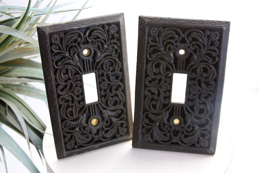 Toggle Switch Cover >> Pair of Gorgeous Cast Iron Filigree Light Switch Plate Covers