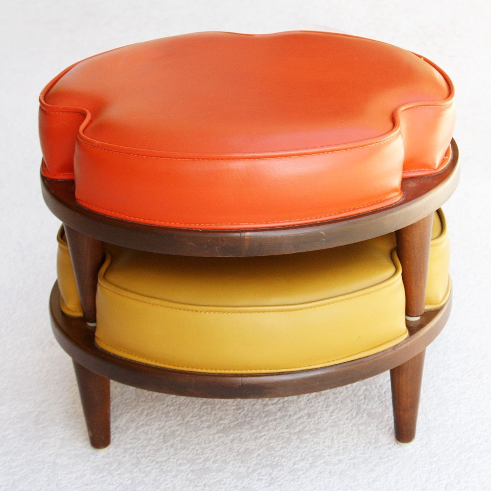 Mid Century Danish Modern Stackable Ottomans