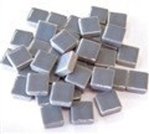 50 count...Mini Ceramic Light Grey Tiles...Mosaic tiles...Sale