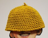Vintage mustard yellow crocheted hat
