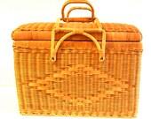 Vintage Large Wicker Picnic Basket