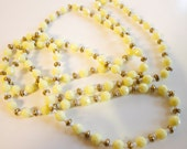 Vintage 1960s Yellow Bakelite Necklace 54 inches long