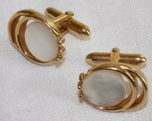 Vintage Cuff Links Gold toned Mother of Pearl  by Swank
