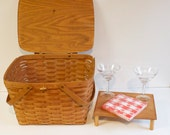 Vintage 1987 Longaberger Large Picnic Basket with wooden tray