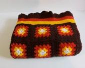 Vintage Brown Granny Square Afghan treasury item