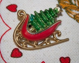Vintage Christmas Sleigh Brooch