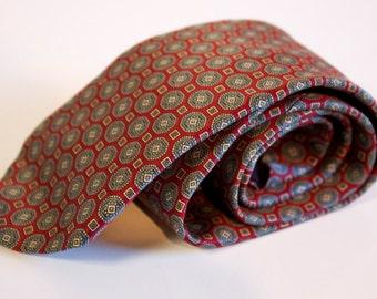 Vintage 1970s silk necktie by B. Forman Co. Gray burgundy