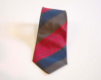 Vintage Skinny Silk necktie by Manolo Borromeo - red gray blue