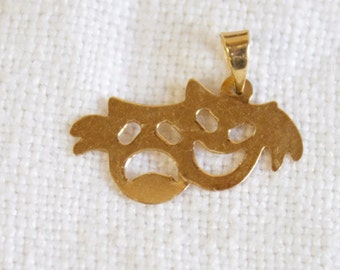 Vintage Comedy Tragedy Mask Pedant Necklace