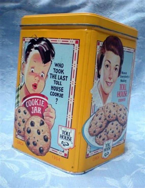 Vintage Yellow Nestle Toll House Cookie Tin