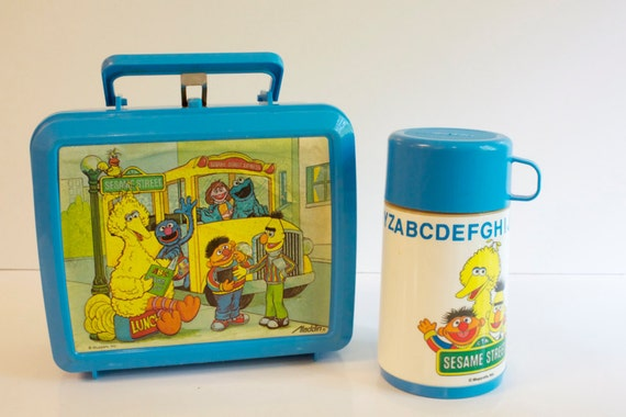 Reserved for Poppy Vintage Aladdin Sesame Street Lunchbox with a Thermos