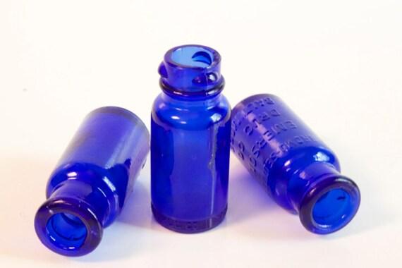 Vintage Cobalt Blue Bromo Seltzer Medicine Bottles Set of three treasury item