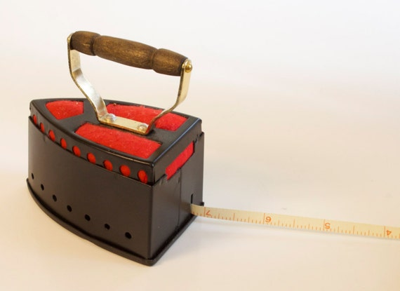 Vintage Pin Cushion with Measure Iron Shape