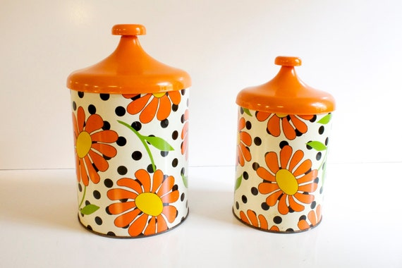 Vintage Retro canisters  - orange floral by Lincoln Metal Products