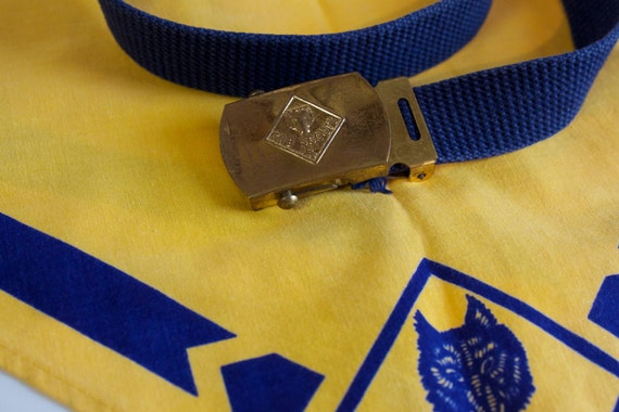 Vintage 1950s Scouts Accessories: Belt with Brass Buckle and neckerchief