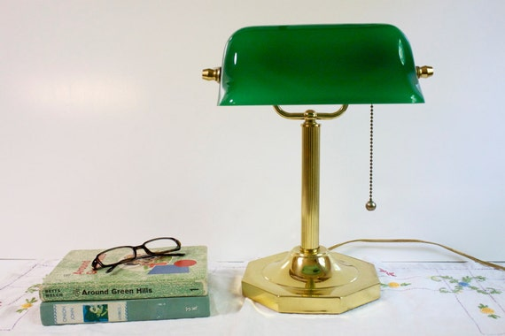 Vintage Banker's Lamp with green glass shade