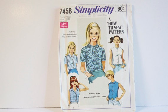 Vintage 1967 Simplicity 7458 Juniors-Teens and Misses Blouse