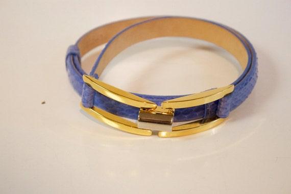 Vintage Blue Leather Belt