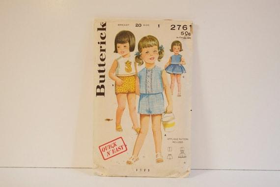 Vintage 1950s Butterick Toddlers Sportswear Size 1