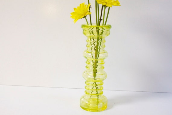 Vintage 1970s Carmen geen glass vase and candle holder