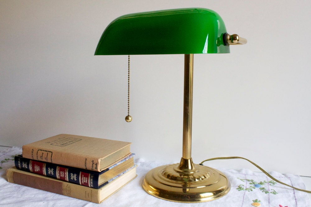 Vintage Banker S Lamp With Green Glass Shade