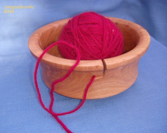 Wooden Knitting Wool Holder : Cherry wood yarn bowl holder woodworking by onegoodturn u