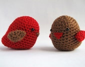 Amigurumi Love Bird Softies - Red and Brown Pair