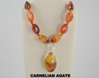 Carnelian Agate Designer Cabochon Pendant, Necklace and Earring Suite.