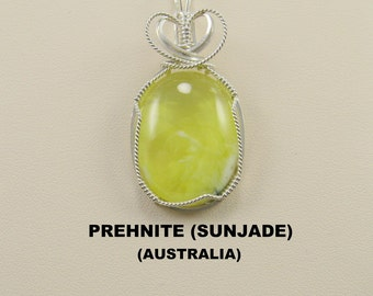 Rare Yellow Prehnite Designer Cabochon Wire Wrapped Pendant.
