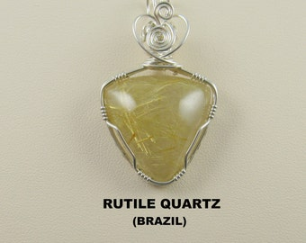 Golden Rutile Quartz Designer Cabochon Wire Wrapped Pendant.