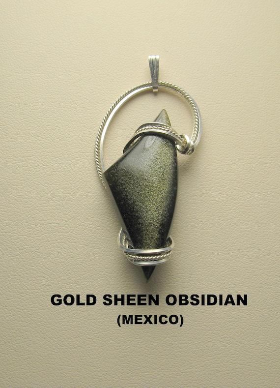Aztec Gold Sheen Obsidian Designer Cabochon Pendant.