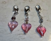 Pretty Pink Hearts Handmade Stitch Markers for Knitting or Crochet