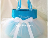 Personalized Aqua and White Ribbon Tutu Tote Bag - Halloween Trick or Treat Bag cute with Alice in Wonderland