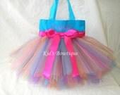 Aqua Rainbow Fairy Monogrammed Tutu Tote Bag - Personalized Tutu Bag