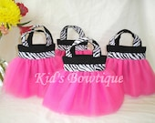 Set of 15 Pink Diva Zebra Party Favor Tutu Bags - Birthday Gift Bags